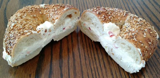 Everything Bagel with Veggie Cream Cheese at Broad Street Bagel Co.