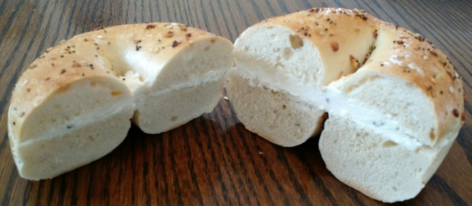 Everything Bagel with Veggie Cream Cheese from Bucky's Bagels