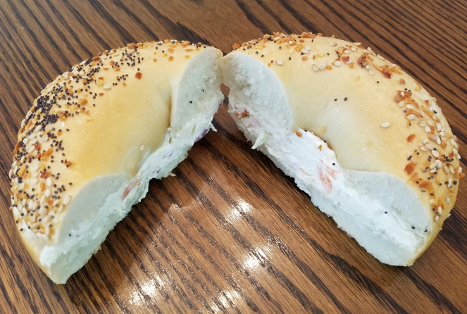 Everything Bagel with Veggie Cream Cheese from Golden Krust