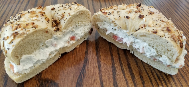 Everything Bagel with Veggie Cream Cheese at Wired Coffee and Bagel