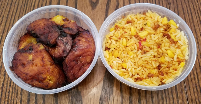 Fried Plantains and Rice with Chorizo from La Empanada Llama