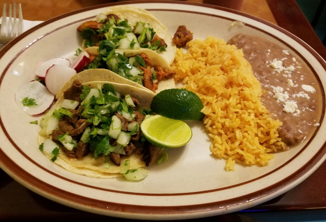 Tacos at La Mexicana Grocery & Restaurant
