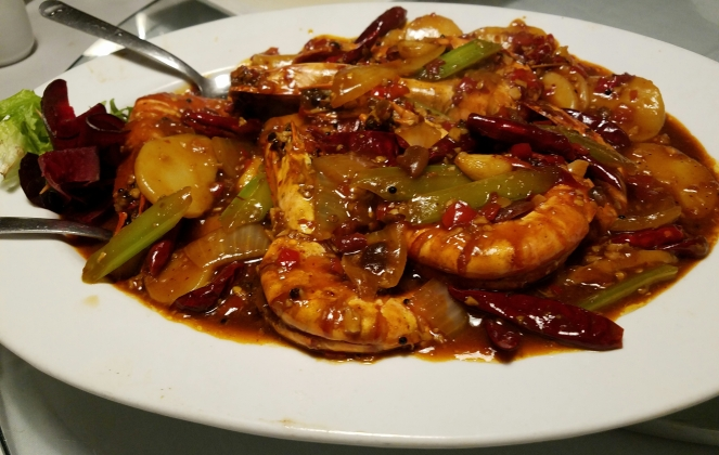 Jumbo Shrimp and Spicy Rice Cakes at Ala Shanghai