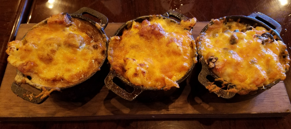 Mac and Cheese Flight at the Tipsy Moose Tavern - Brisket, Chili, and Southwest