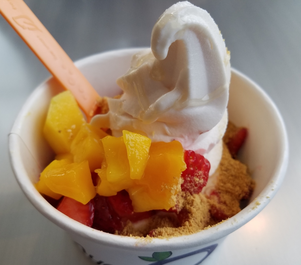 Watermelon Frozen Yogurt at Ayelada, with Mangoes, Strawberries, Raspberries, Graham Cracker Crumbles, and Lavender Honey