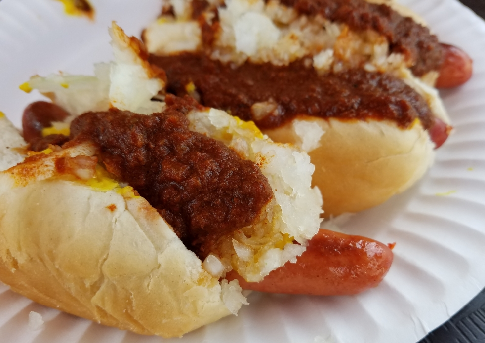 Mini Hot Dogs with the Works at Gus's Hot Dogs